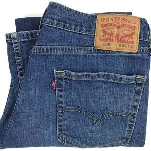 Levi's 505 Regular Fit Straight Leg Jeans Sz 33x32